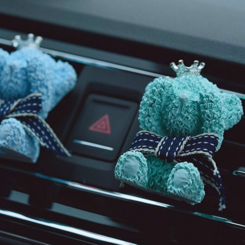 Ambientador de coche Perfume lindo oso Artificial Carro de flores aire acondicionado salida aromaterapia Clip aceite esencial difusor de coche