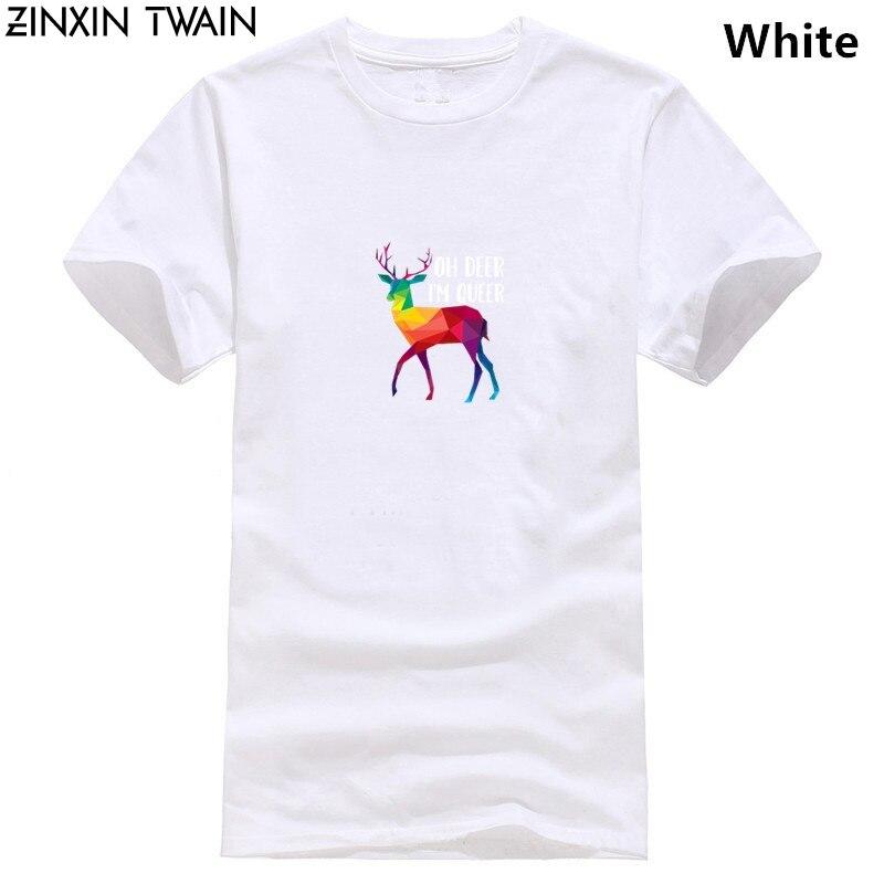 T Shirts Mode 2019 Herren Oh Deer ICH bin Queer-Lustige Wortspiel LGBT Regenbogen Homosexuell Stolz T-Shirt Große Schwarz T Shirts