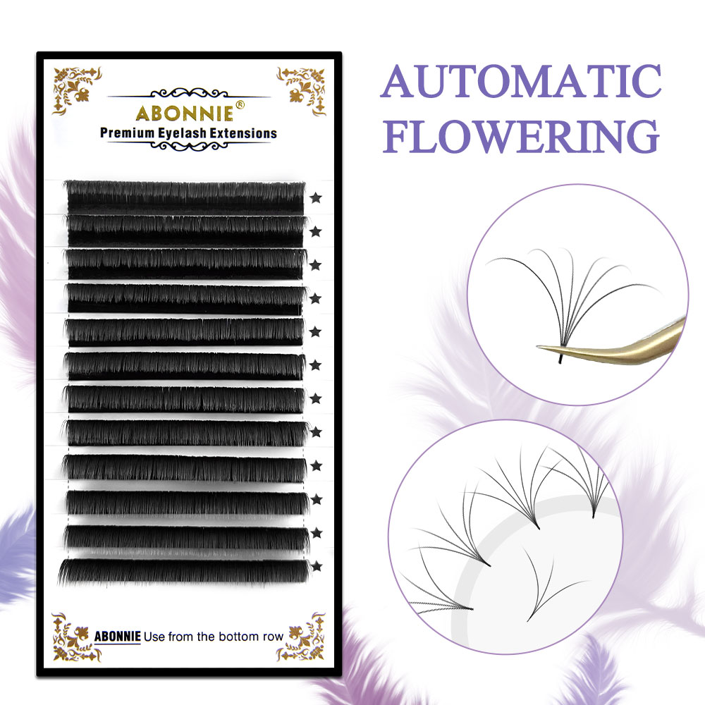 Abonnie 8-18mm Auto Fan Lashes Easy 1s Blooming Eyelash Extension Fast Fanning Volum Tray