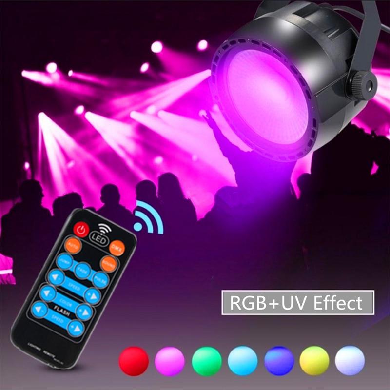 Uv + rgb efeito 30 w cob conduziu a luz da lavagem do estágio, controle remoto sem fio e dmx contol conduziu a luz da par para o clube da barra do casamento do dj conduziu lâmpadas