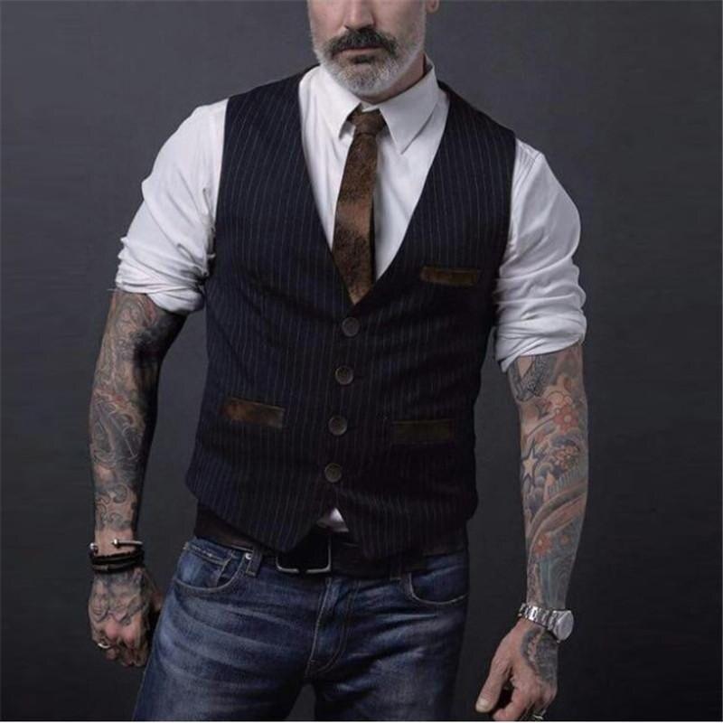 2020 Striped Black Suit Vest MenSpring Autumn Jacket Sleeveless Vintage Breasted Dress Vest For Men Fashion Waistcoat