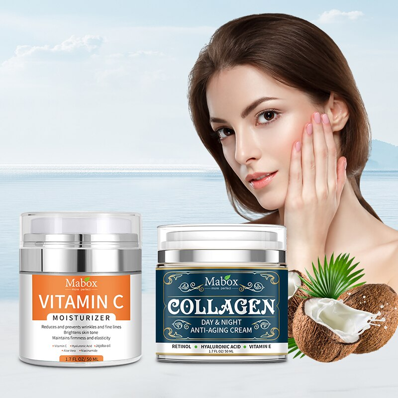 MABOX Vitamin C Moisturizing Cream With Collagen Anti-Aging Cream Fast Absorbing Non Greasy Face Cream 2Pcs/set