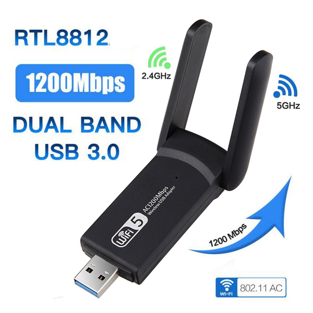 Adaptador Wifi de doble banda, 1200Mbps, 2,4G, 5G, Wi-fi, USB 3,0 w/...