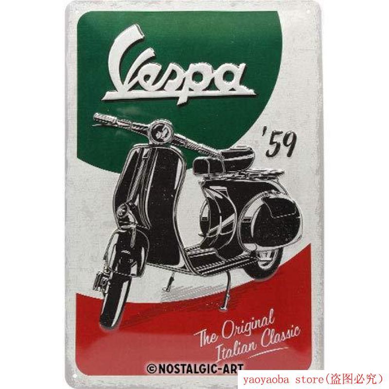 Vespa The Italian Classic, Metal Tin Sign MultiMetal Painting Tin Sign Wall Decor Board Retro Pub & Bar Tin Poster