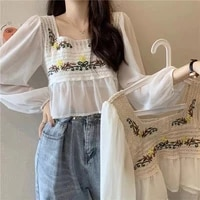 womens 2021 new spring and summer temperament blouse french lace hollow square neck puff sleeve chiffon long sleeve shirt