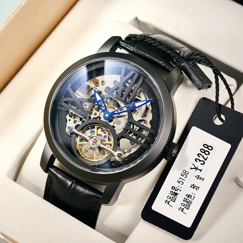 AILANG New Business Men's Watch Hollow Automatic Mechanical 30M Waterproof Tourbillon Pointer Watches Relogio Masculino 6811LM enlarge