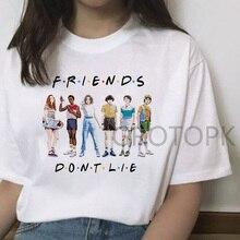 T-Shirt drôle pour les femmes choses étrangères T-Shirt femme ami ne pas mentir lettre impression t-shirts été col rond série Tv chaude T-Shirt