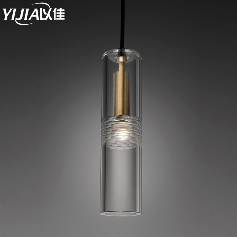 Nordic modern brass pendant light retro loft pendent lamp headlamp brass led lamp art deco lighting crystal lampshade bedside