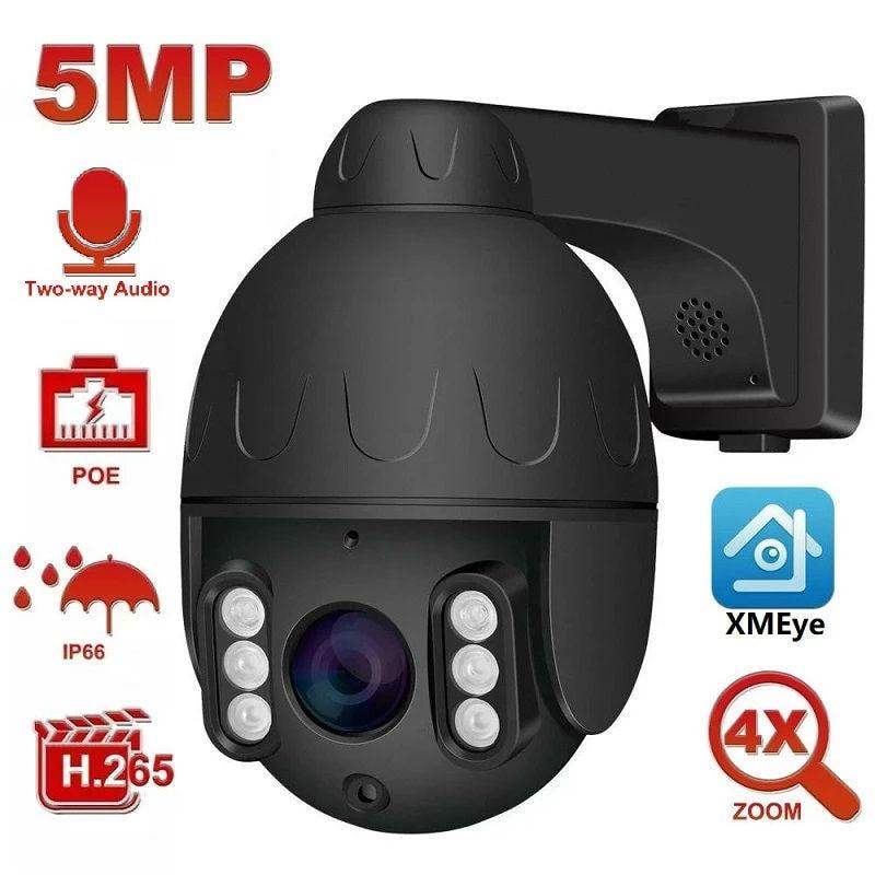 Уличная мини-камера для домашней безопасности, 2 МП/8 Мп, POE, PTZ IP, 5 МП, Super HD, 4-кратный зум, два канала, запись звука, 60 м, ИК, P2P XMEye
