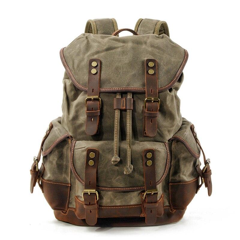 Fashion Men's Retro Casual Large Capacity Canvas Shoulder Bag Travel Bag School Bag Laptop   Backpack Bag Dropshipping