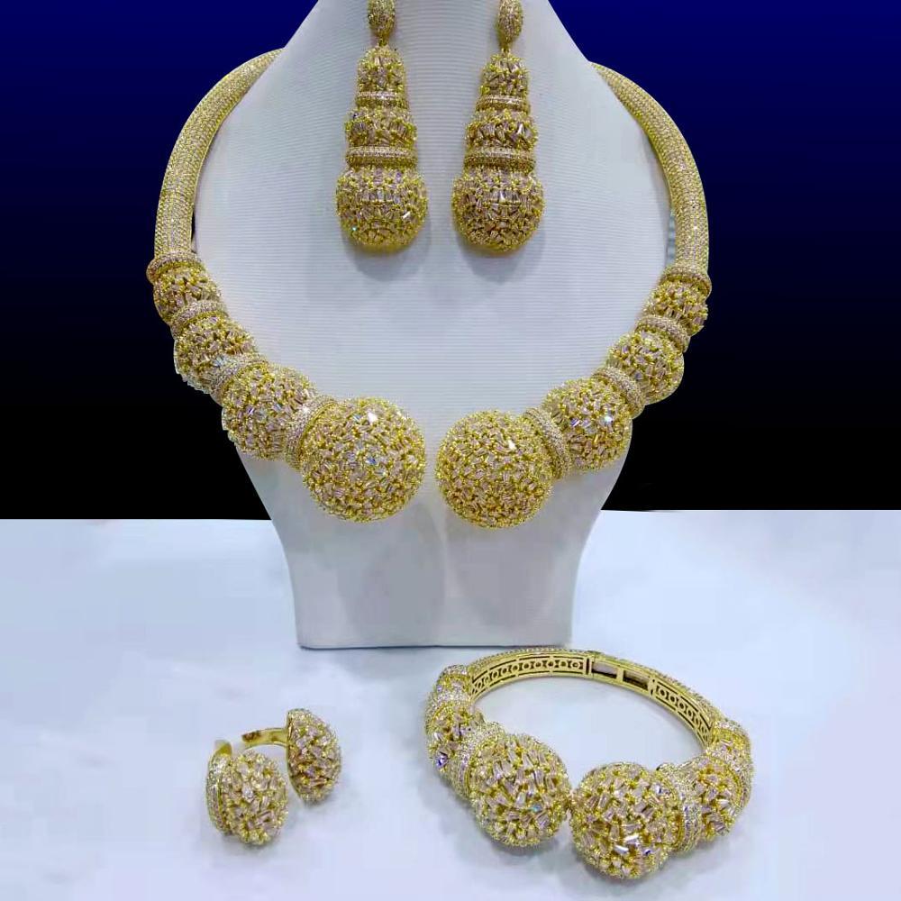 GODKI Famous Brand Disc Balls Luxury Nigerian Dubai Jewelry Sets For Women Cubic Zircon Wedding Bridal Jewelry Sets 2021