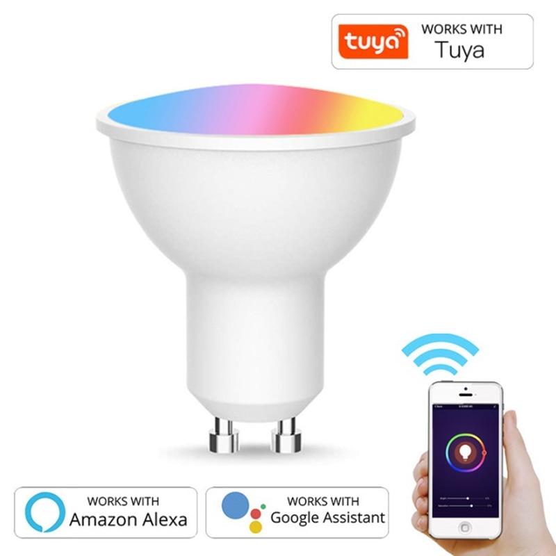 GU10 Spotlight WiFi Smart Light Bulb 5w RGB+CW 2700-6500K Smart Bulb App Remote Control RGB Light Lamp For Alexa Google Home