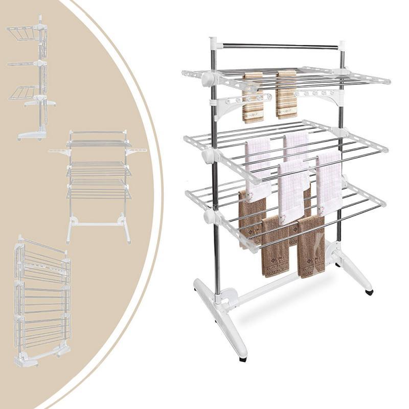 الفولاذ المقاوم للصدأ توفير مساحة حمالة تجفيف ملابس قدم طوي 3 طبقة البكرات المنقولة الملابس المنزلية نظيفة تخزين لوازم HW