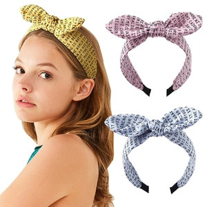 2pc fabric cross rabbit ears headband English letters wide-brimmed knotted hairpin bow headband