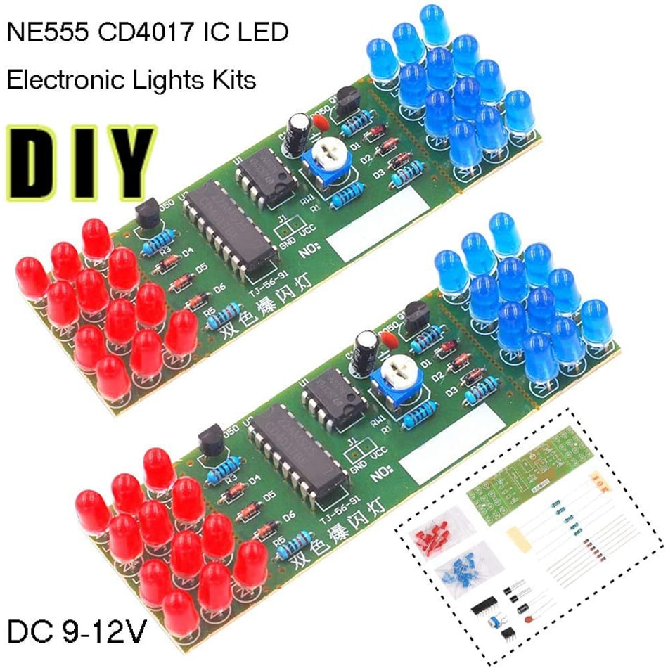 NE555 CD4017 IC LED Electronic Lights Kits Red Blue Dual-Color DIY Kit Strobe Electronic Suit Flashing Lights Components DIY
