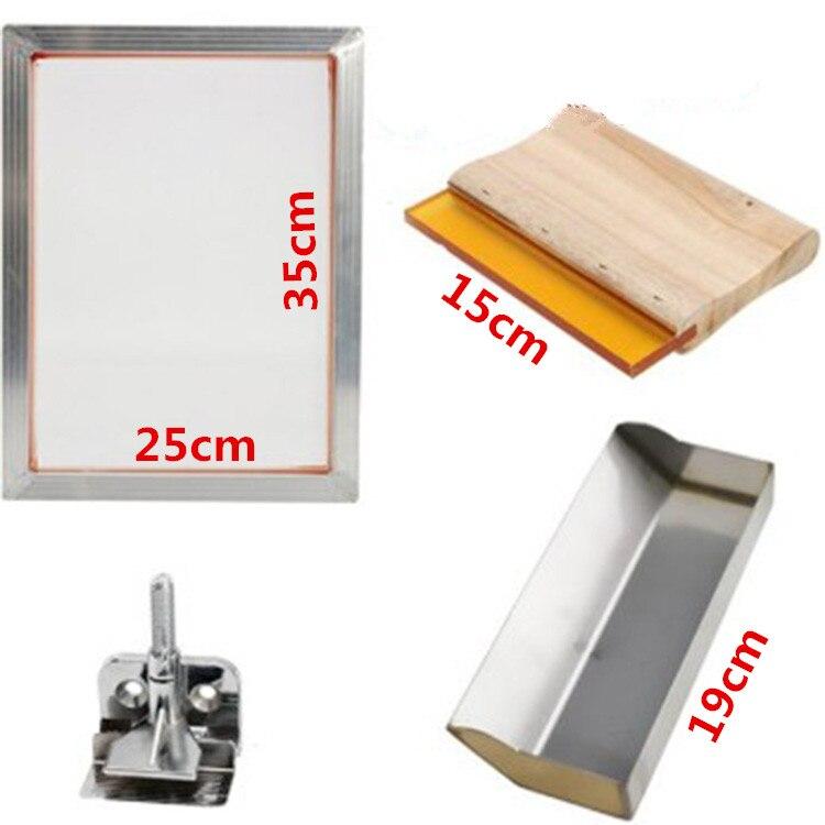 5Pcs/Set Screen Printing Kit 120T Silkscreen Mesh Aluminum Frame + Hinge Clamp Emulsion Scoop Coater + Squeegee Diy Tool Parts