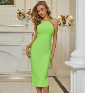 Women Summer Sexy Sleeveless O Neck Green Midi Split Bodycon Bandage Dress 2020 Designer Elegant Evening Party Dress Vestido