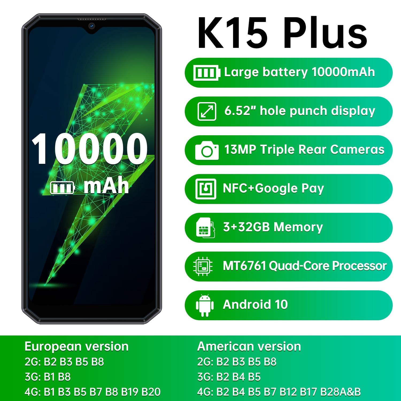 Перейти на Алиэкспресс и купить OUKITEL K15 Plus Android 10 10000 мАч NFC Смартфон 6,52 дюйм3 ГБ ОЗУ 32 Гб ПЗУ сотовый телефон MT6761 13MP четырехъядерный мобильный телефон