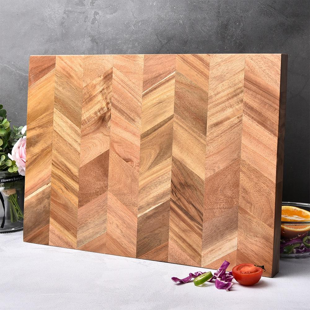 BILL.F Chopping Board, Acacia Wood Kitchen Cutting Board with End-Grain, Large Wooden Chopping Boards. square chopping board