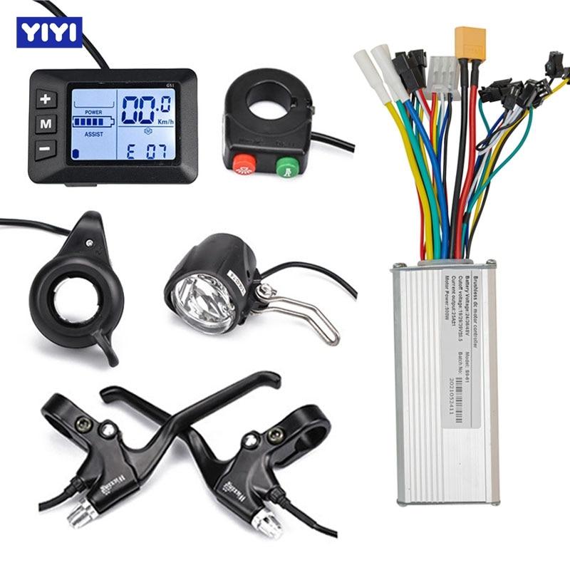 250/350/500w EBike Brushless Controller 24V-48V Electric Scooter Bike Display Throttle Brake Lever Light E-Bike Accessories