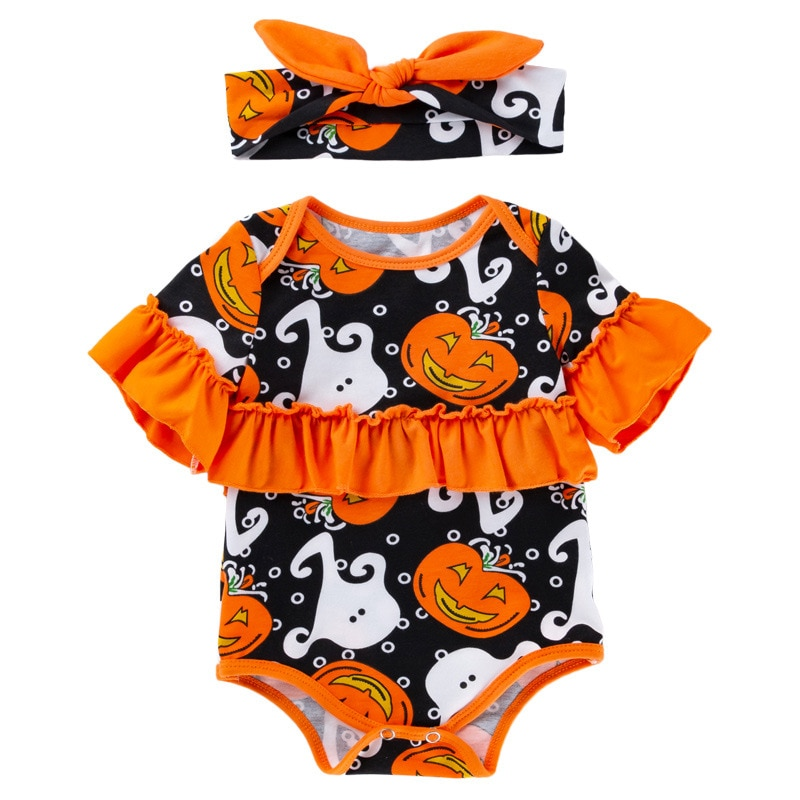 Christmas Newborn Bodysuit Short Sleeve Halloween Pumpkin Cartoon Skull Romper Jumpsuit Baby Girls Boys Clothes 3-24m