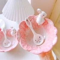little rabbit bowl lovely girl heart korean version ins dessert salad cereal bowl dormitory household ceramic bowl tableware