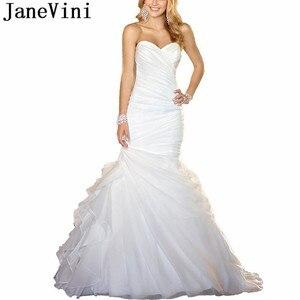 JaneVini African Sexy Mermaid Wedding Dresses for women Pleat Organza Elegant Ruffles Sweetheart Sleeveless Bridal Gowns 2019