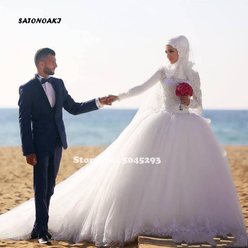 Vestido De boda árabe musulmán De manga larga, Dubái, vestido De baile,...