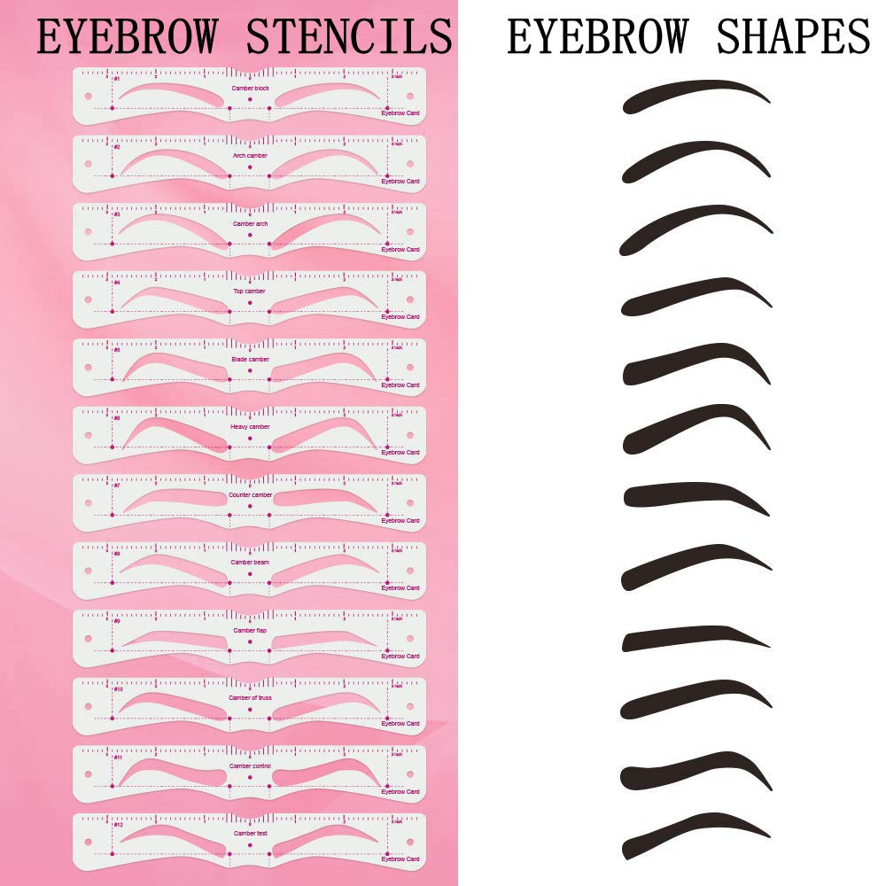 12 Pcs Grooming Eyebrow Stencil Kit Makeup Tools Diy Beauty Eyebrow Template Stencil For Women Beauty Tools Accessories Leather Bag
