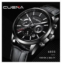 Cuena marca homem relógio cronômetro data luminosa mãos banda de couro genuíno quartzo relógio de pulso 30 m masculino à prova dwaterproof água relógio de luxo