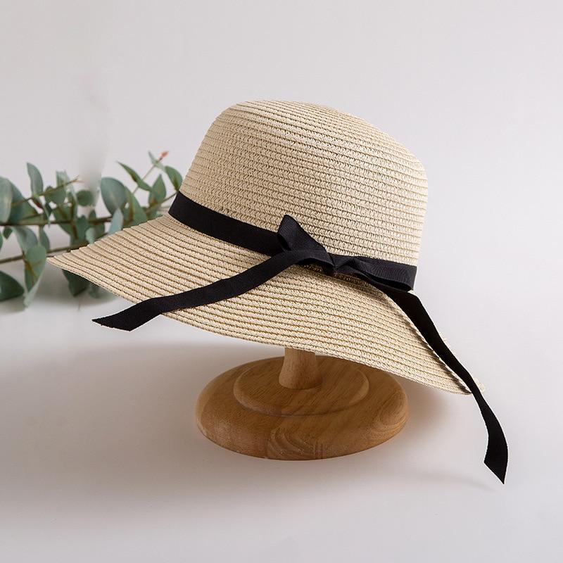 2020 Новая мода чёрным гaлстyкoм до летняя соломенная шляпа для женщин солнце шляпы Панамы кепки пляжная шляпа Chapeu