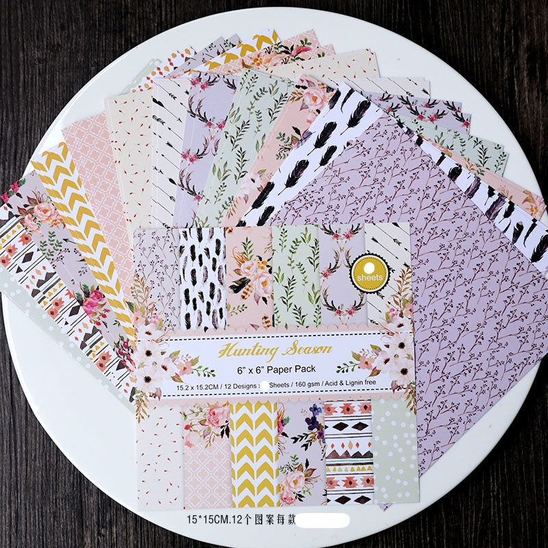 KLJUYP 12 hojas de temporada de caza Scrapbooking Pads papel Origami arte de fondo Tarjeta de papel hacer DIY álbum de recortes de papel artesanal
