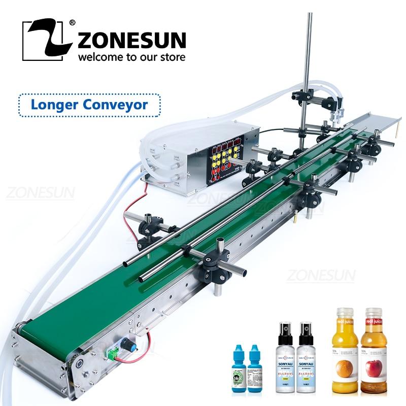 ZONESUN ZS-DPYT200L Automatic Water Milk Filling Machine Perfume Juice Bottle Vial Double Heads With Longer Conveyor