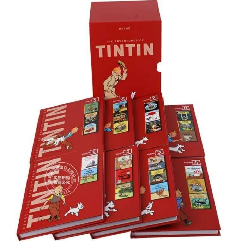 8 Books/set Tintin Collection The Adventures of Tintin English Picture story books to help your child grow as reader Libros Toy