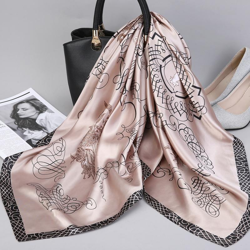 Женский Шелковый атласный шарф, хиджаб с принтом, квадратные шарфы и шали для женщин, 90*90 см, 2019| |   | АлиЭкспресс