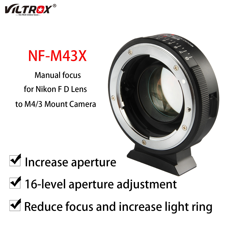 Viltrox NF-M43X البؤري المخفض سرعة الداعم محول العدسة حلقة توربو فتحة لنيكون F عدسة إلى M4/3 جبل كاميرا GH5 GH85 GF7