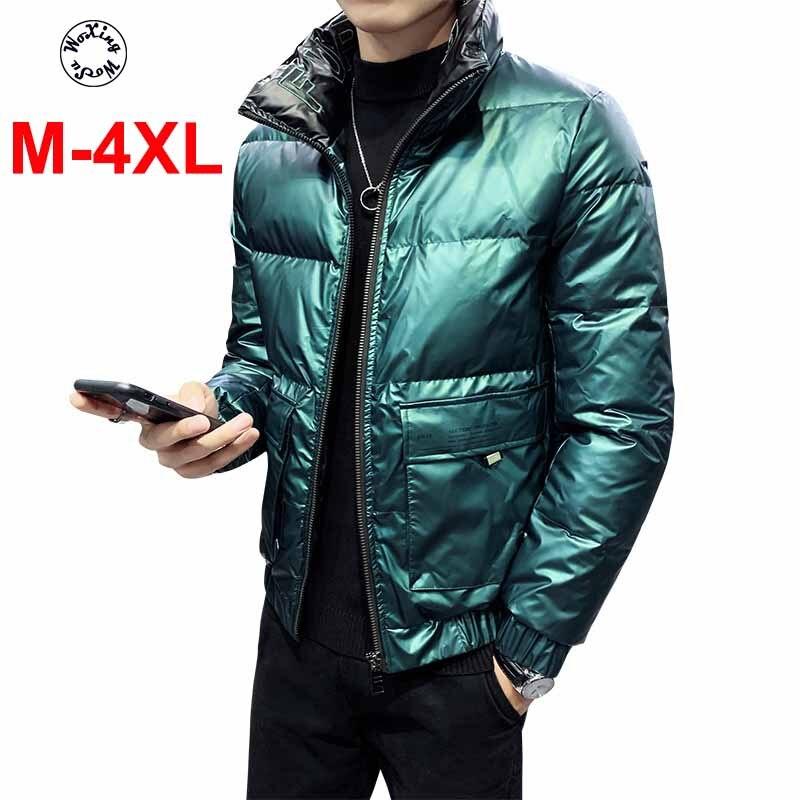 Для Мужчин's пуховик специальная блестящая светильник и тонкий белый пуховик со стоячим воротником, куртка больших размеров M до 4XL