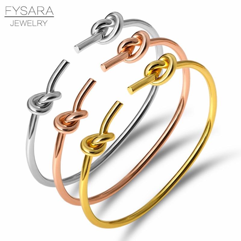 Fysara marca clássica prego nó pulseiras & bangles simples ouro fino manguito pulseira para mulheres jóias de casamento pulseiras amante presente