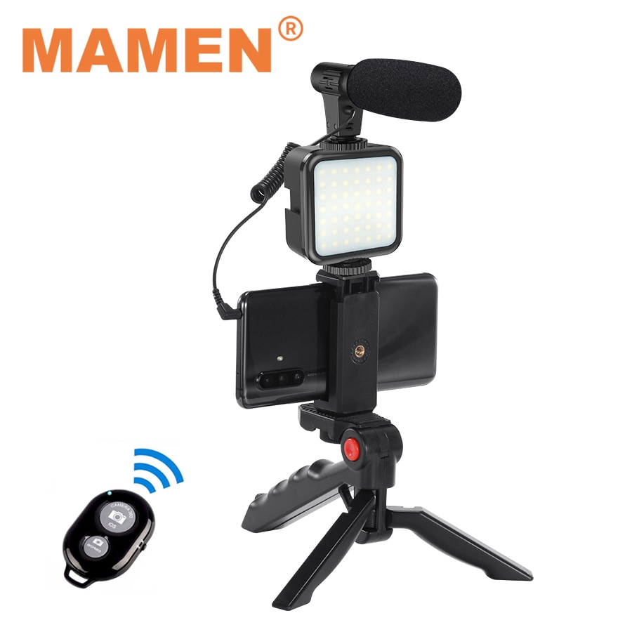 MAMEN Professional Vlogging Video Shooting KITs With Mini Tripod Bluetooth Selfie Control For SLR Camera Smartphone Recording