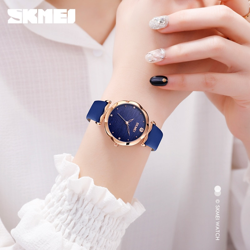 SKMEI 30m Waterproof Simple Women Watches Fashion Flower Shape Dial Ladies Female Quartz Clock Relogio Feminin Montre Femme 1703 enlarge