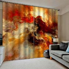 Rideau occultant orange 3D, rideau de luxe pour fenêtre de salon