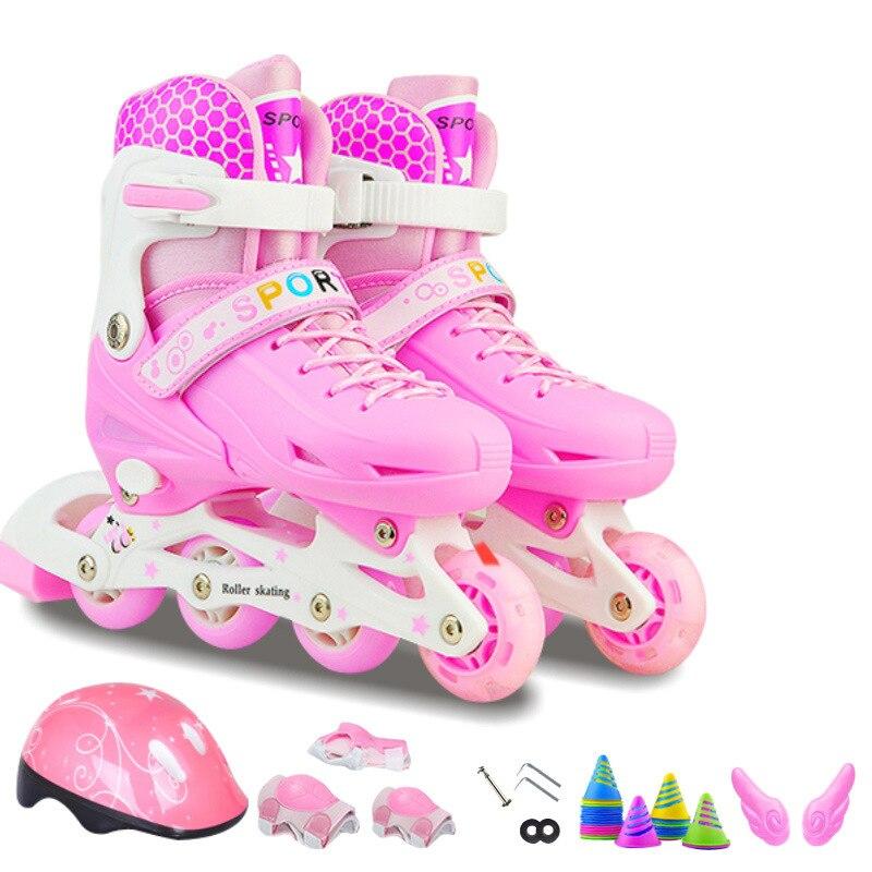 2019 novos Adolescentes Crianças Patins Inline Sapatos de Patinação Capacete Engrenagem Protetor de Joelho Ajustável Piscando Rodas PU Rosa Azul