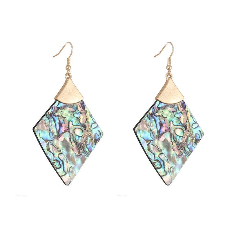 E7834 pendientes de abulón rombo geométrico triángulo blanco pendientes de concha colgante...