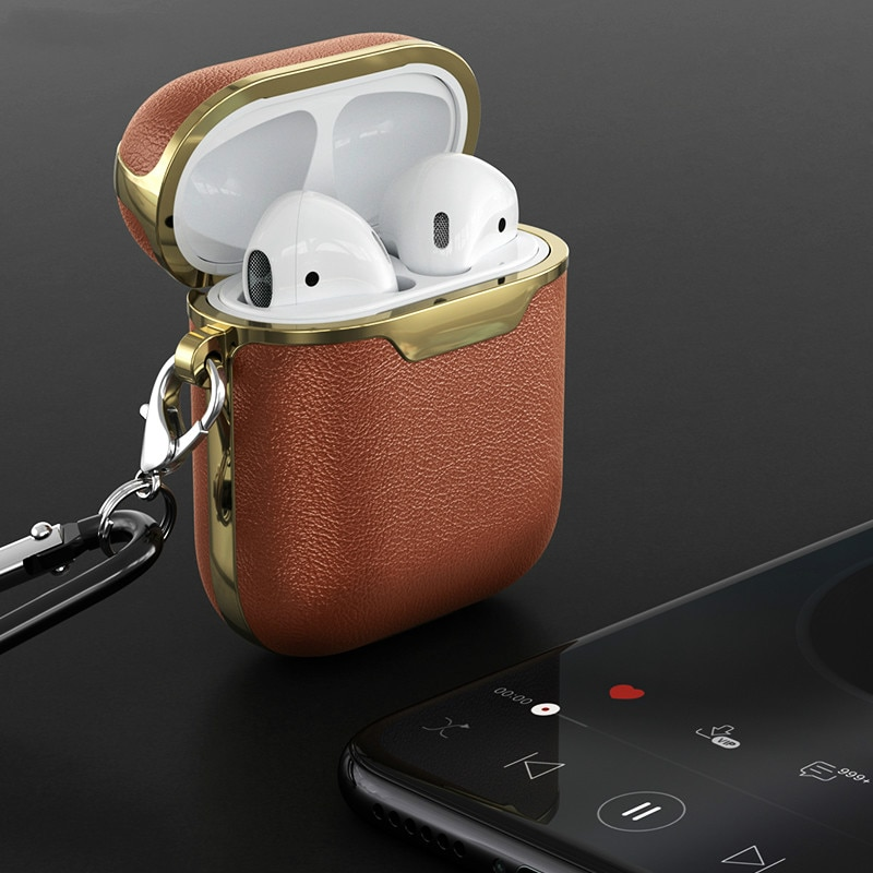 Leather Case for Airpods Wireless Earphone Cover Cases for Air Pods Box Case Protective Skin Cover for Apple Airpods Case
