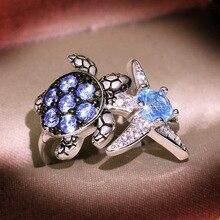 Женское летнее ювелирное изделие, банкетное свадебное кольцо, креативное инкрустированное кольцо с морским синим цирконием, кольцо с морск...