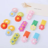 cute fairy hairgrips for children polyester print candy color knitting flowers hair clip pince cheveux