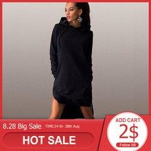 Rosetic femmes sweats automne à capuche solide noir grande taille longue asymétrique décontracté pull ample sweat robe à capuche