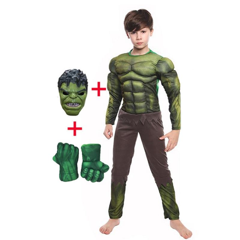 Kids Christmas Birthday Gifts Hulk Cosplay Muscle Costumes including Masks Halloween Children Costum