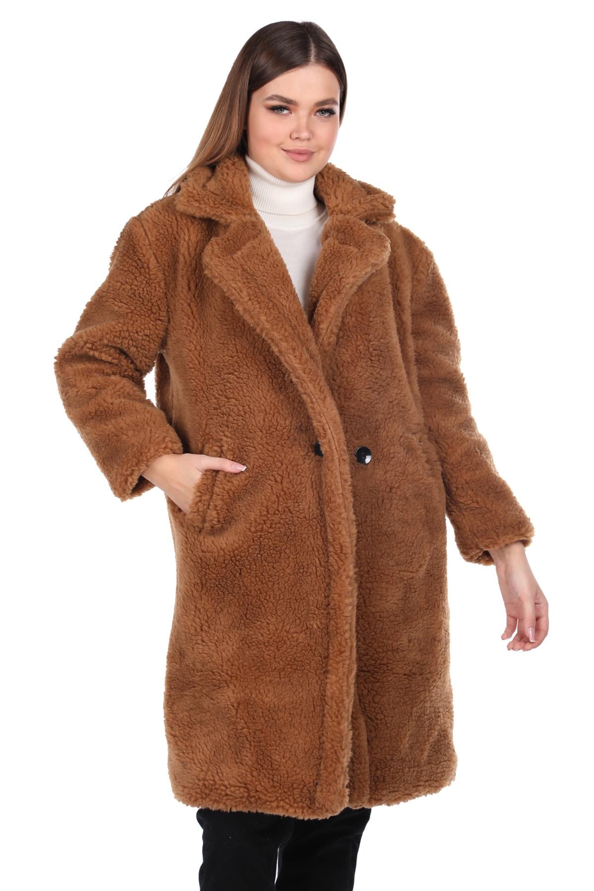 تيدي أفخم معطف امرأة البني المعتاد