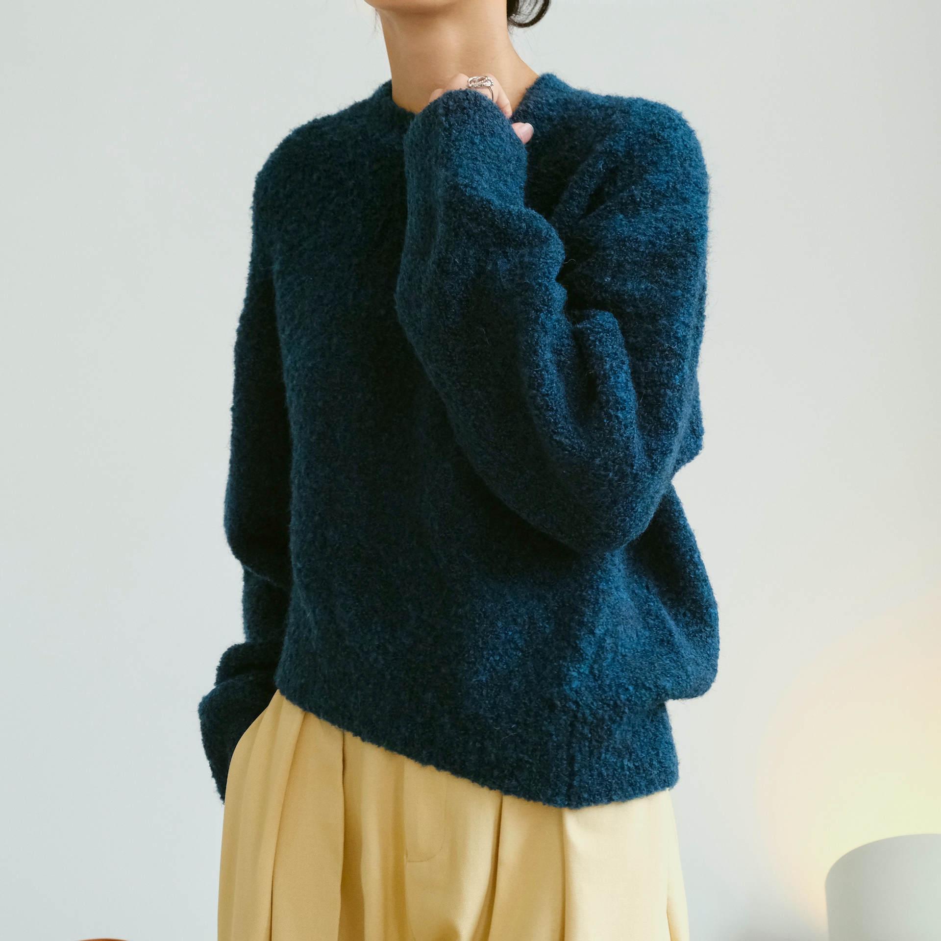 Korean Fashion Knit Pullovers Light Flower Gray/Retro Blue Wool Sweaters Soft Jumper Tops Femme Pull Chic Irregular Hem Design enlarge
